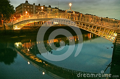 Ha penny Bridge. River Liffey in Dublin.