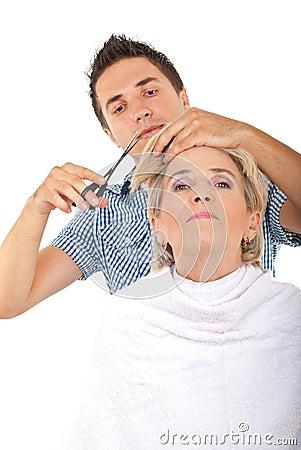 Haar van de de besnoeiings het hogere vrouw van de kapper royalty vrije stock fotografie - Witte kapper ...