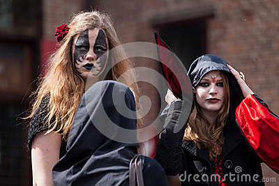 Two women drsessed up as witch at Fantasy Fair Editorial Photography