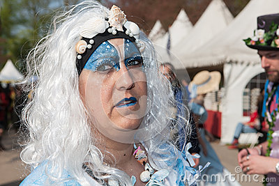 Woman drsessed up for Fantasy Fair Editorial Photo
