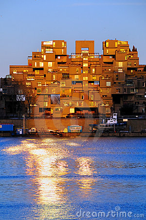 Habitat 67 in Montreal at sunset