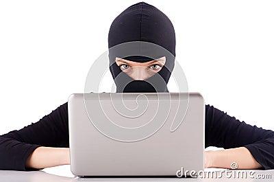 Hacker med datoren