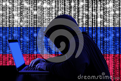 Hacker from russia at work cybersecurity concept