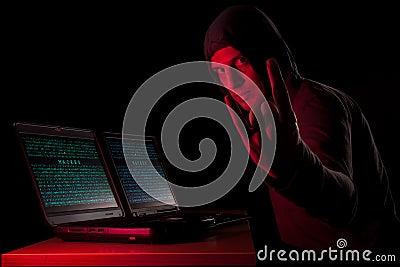 Hacker showing horns