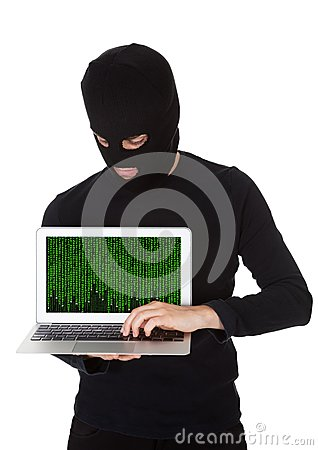 Hacker stealing data from a laptop