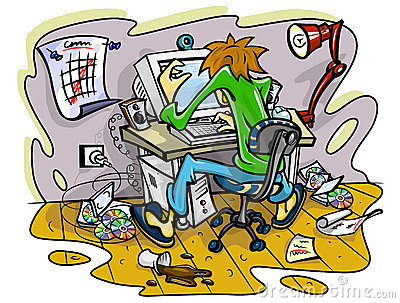 Hacker working on computer in jumble room