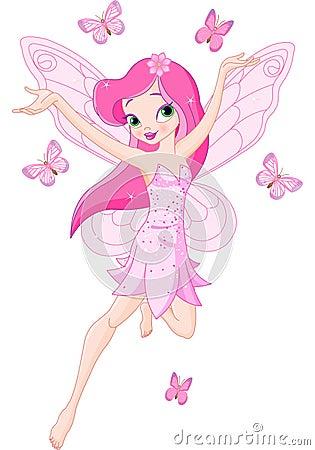 Hada rosada linda del resorte