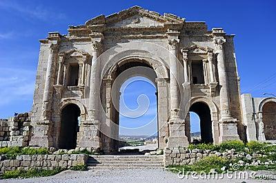 The Hadrian gate in Jerash. Jordan