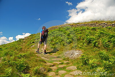 Hadrians wall: Teenager walking on the trail