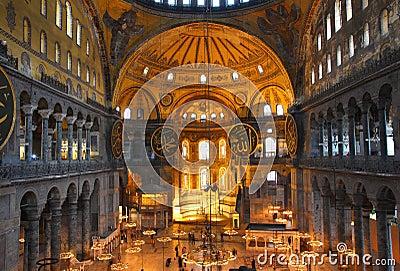 Hagia sofia museum interior in istanbul