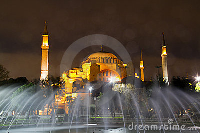 Hagia Sophia behind the water fountain