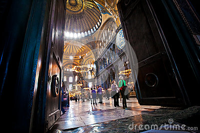 Hagia Sophia interior in Istanbul, Turkey Editorial Image