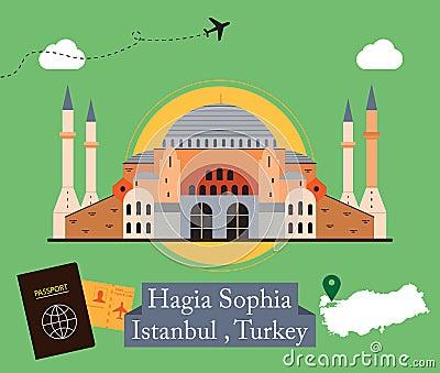 Hagia Sophia, Istanbul Turkey Vector Illustration