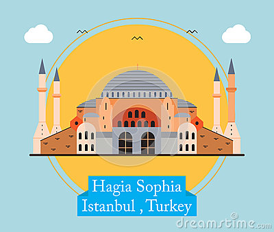 Hagia Sophia, Istanbul Turkey Vector Illustration