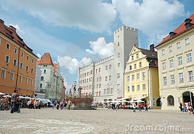 Haidplatz, town square in Regensburg,Germany Editorial Stock Photo