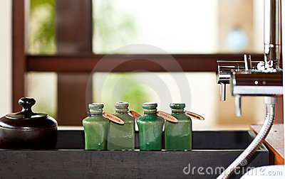 Hair and body care products in bathroom