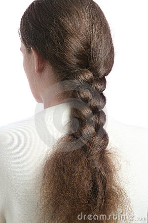 Hair in braid.