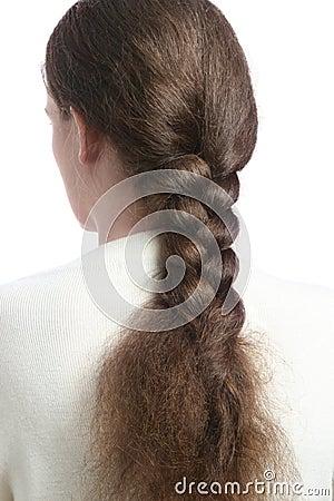 Hair in braid.
