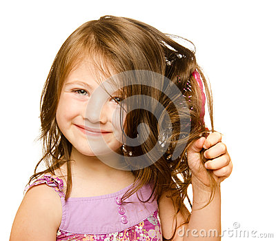 Hair care concept with portrait of girl