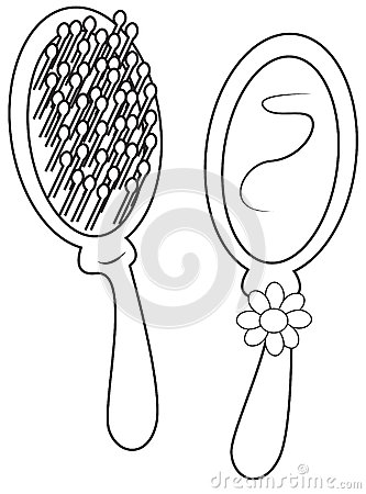 Hair Comb And Mirror Coloring Page Stock Illustration ...