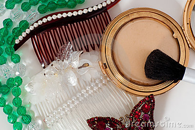 Hair combs makeup and homemade jewelry