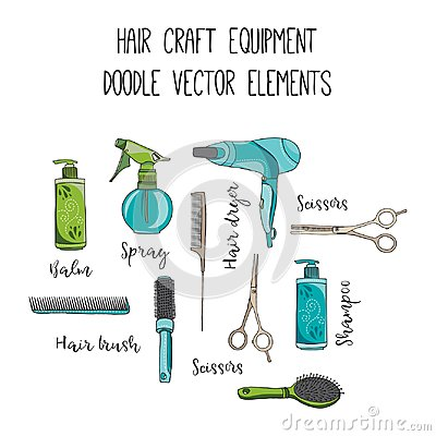 Free Hair Craft Hand Drawn Vector Doodle Elements Royalty Free Stock Image - 99467036