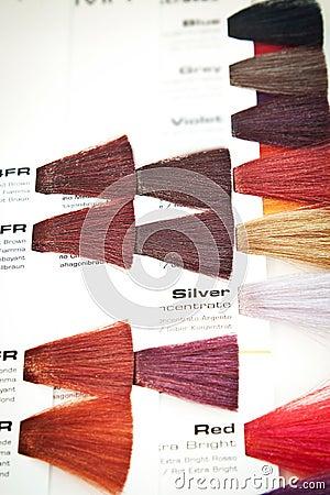 Hair dye colour swatch