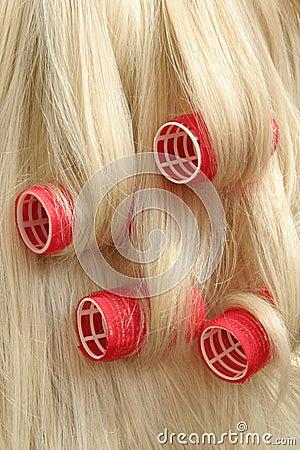 Hair in hair rollers