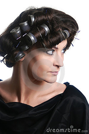 Hair-rollers woman Hair-curlers hairstyle