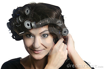 Hair-rollers woman  hairstyle hair-curlers
