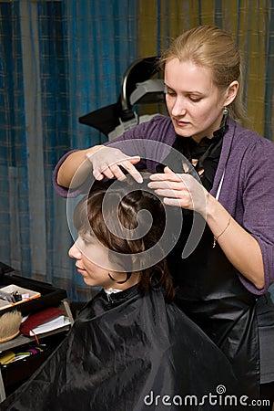 In a hair salon