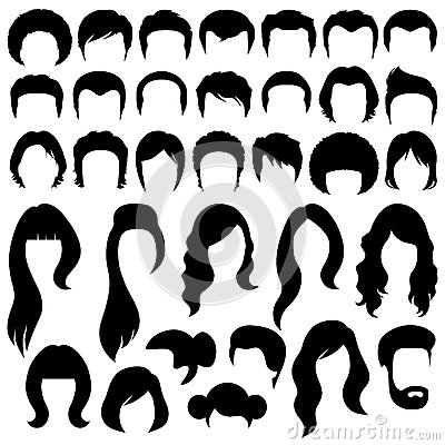Free Hair Silhouettes Royalty Free Stock Image - 43035976