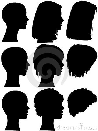 Hair Style Beauty Salon Woman Profile Silhouettes