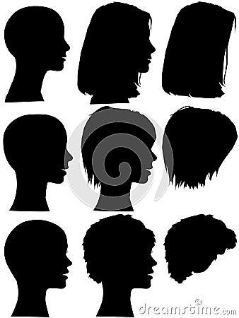 Free Hair Style Beauty Salon Woman Profile Silhouettes Royalty Free Stock Photo - 5065155