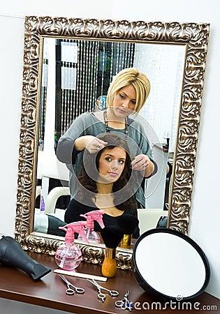 Hair stylist at work