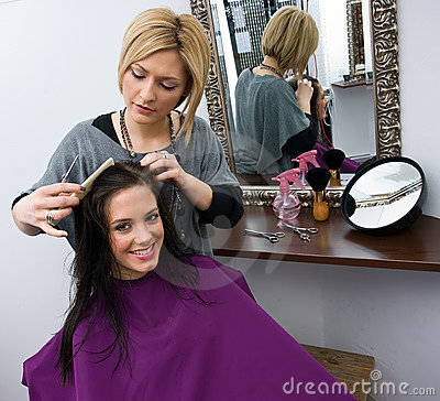 Hair stylist at work