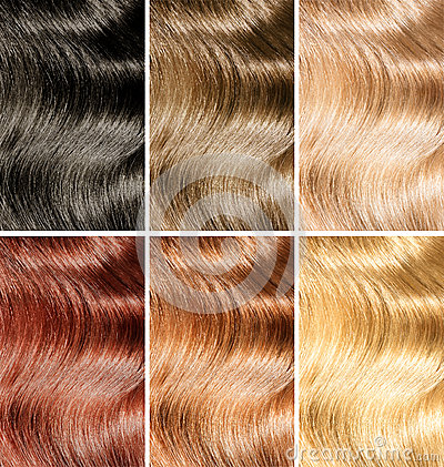 Hair tint or dye different colors samples set