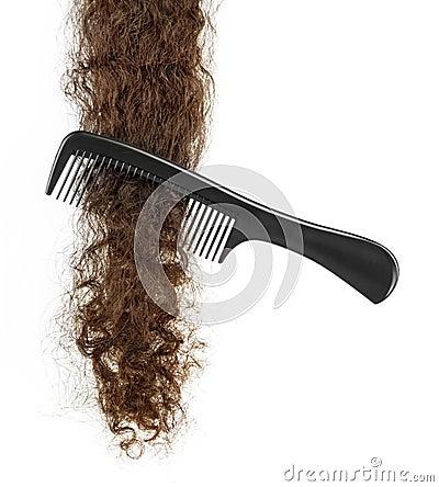 Free Hairbrush And Lock Of Hair Royalty Free Stock Image - 51324226