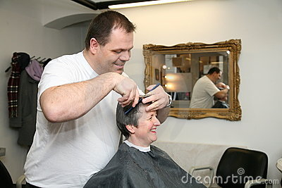 A haircut for a lady at the barbers