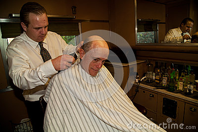 Haircut at the Troop Train Editorial Stock Photo