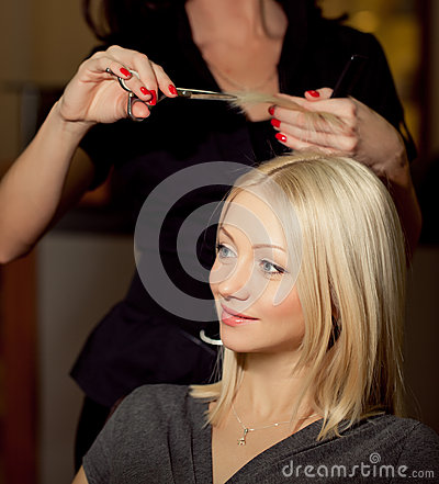 Haircutter  cut  hair in salon. Blonde  woman