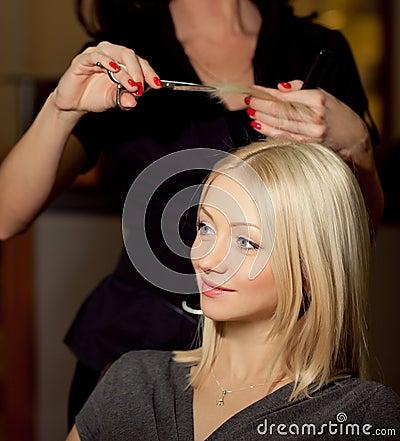 Haircutter  cut  hair in salon. Blonde  woman