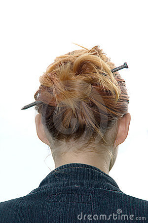 Free Hairdress With A Metal Nail Stock Image - 2854621