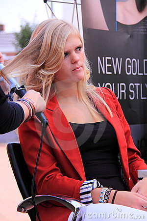 Hairdresser demonstration woman Editorial Photo
