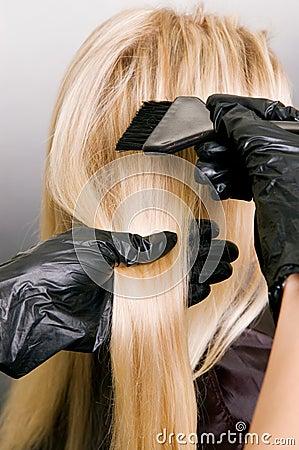 Free Hairdresser Doing Hair Dye Stock Photography - 6742932