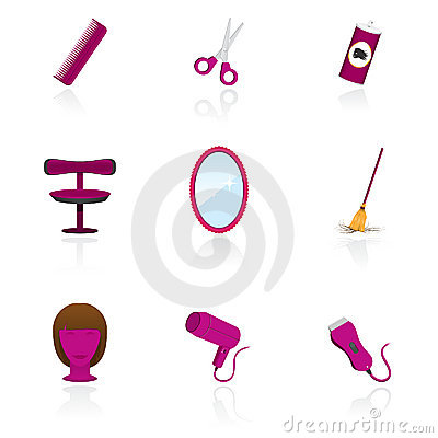 Hairdressing saloon objects icons