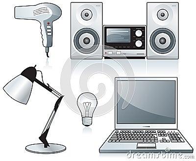 Hairdryer, stereo, laptop