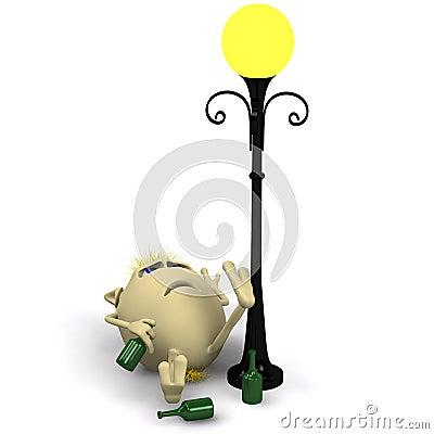 Haired drunkard puppet sleep near metal latern