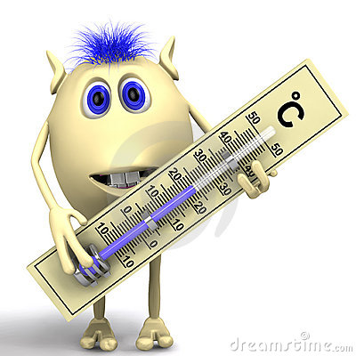 Free Haired Puppet Holding Big Plastic Thermometer Royalty Free Stock Photos - 20280688
