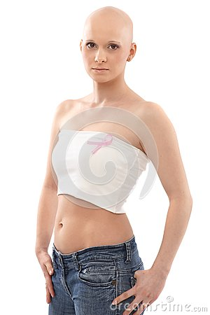 Hairless woman with Breast Cancer Awereness ribbon